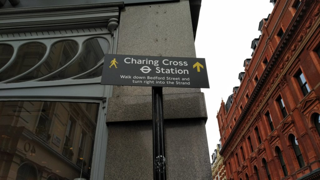Pedestrian sign with directions to Charing Cross Station