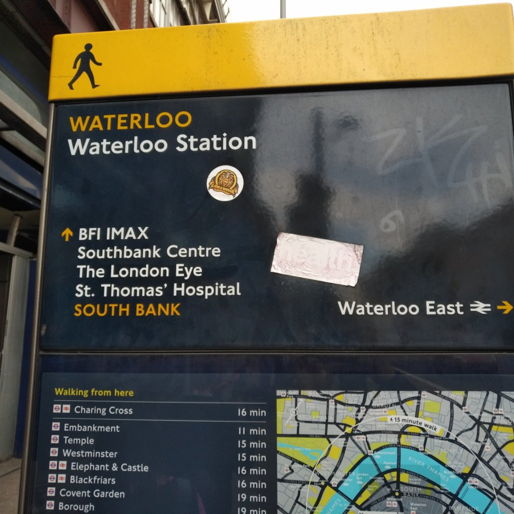 Pedestrian sign with directions from Waterloo Station