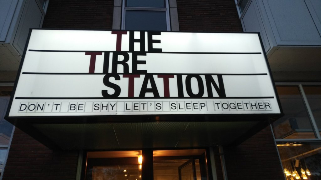 The Tire Station hotel entrance